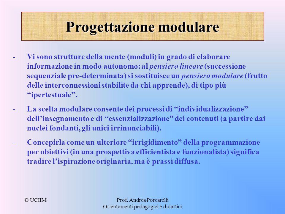 © UCIIMProf. Andrea Porcarelli Orientamenti pedagogici e didattici Progettazione modulare - -Vi sono strutture della mente (moduli) in grado di elabor