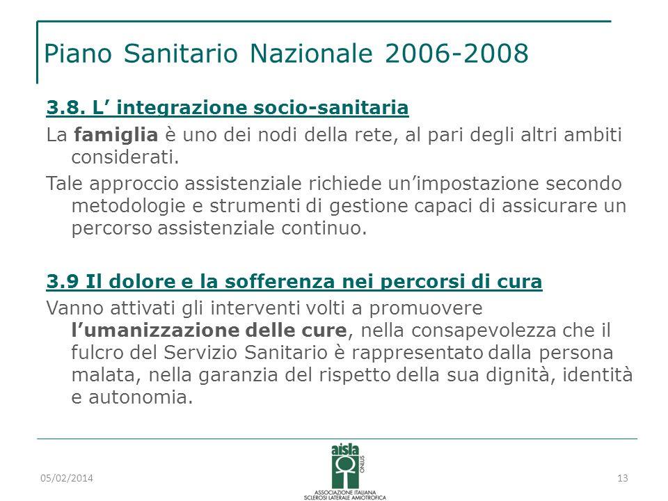 Piano Sanitario Nazionale 2006-2008 3.8. L integrazione socio-sanitaria La famiglia è uno dei nodi della rete, al pari degli altri ambiti considerati.