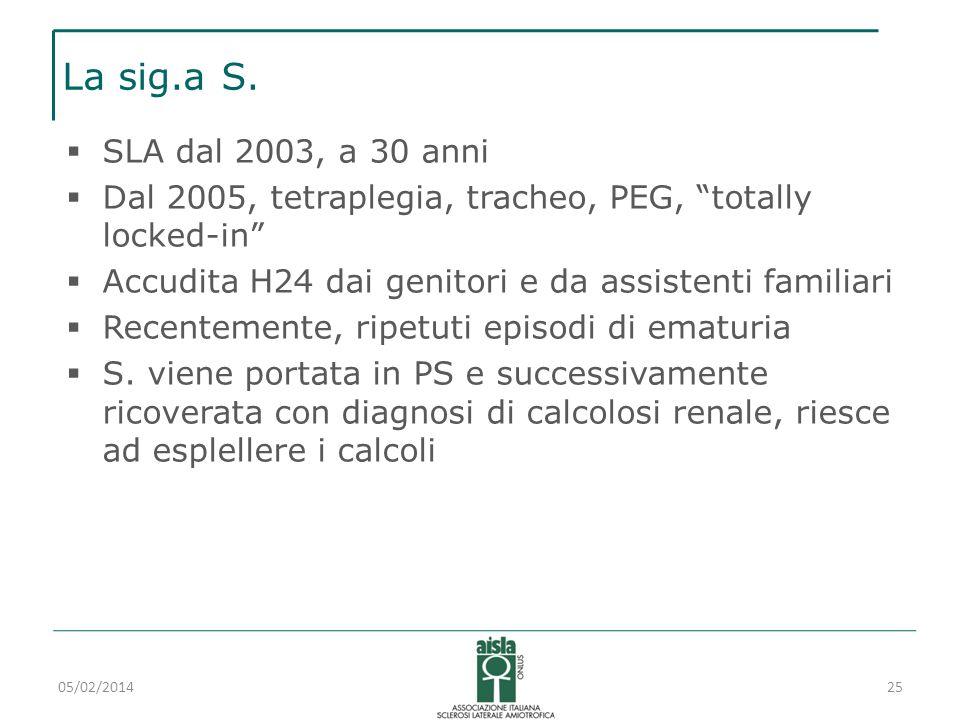La sig.a S. SLA dal 2003, a 30 anni Dal 2005, tetraplegia, tracheo, PEG, totally locked-in Accudita H24 dai genitori e da assistenti familiari Recente