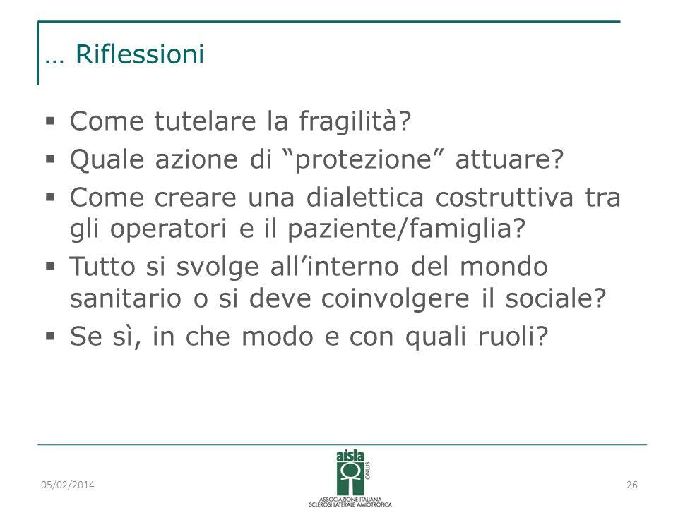 … Riflessioni Come tutelare la fragilità? Quale azione di protezione attuare? Come creare una dialettica costruttiva tra gli operatori e il paziente/f