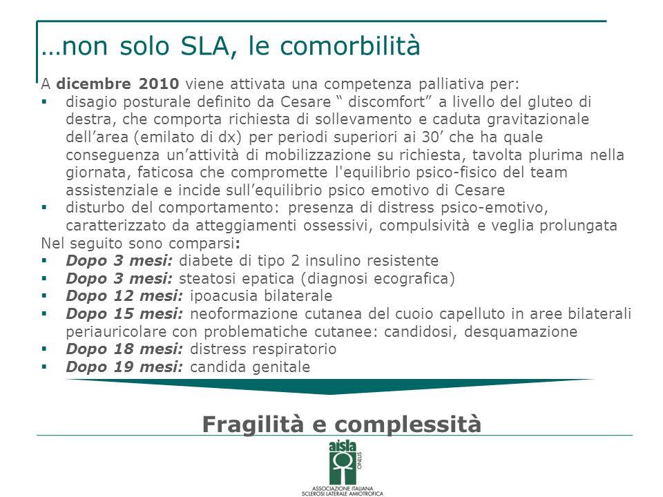 …non solo SLA, le comorbilità A dicembre 2010 viene attivata una competenza palliativa per: disagio posturale definito da Cesare discomfort a livello