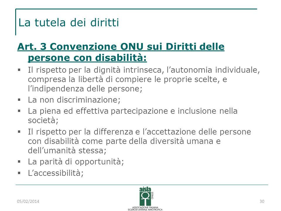 La tutela dei diritti Art. 3 Convenzione ONU sui Diritti delle persone con disabilità: Il rispetto per la dignità intrinseca, lautonomia individuale,