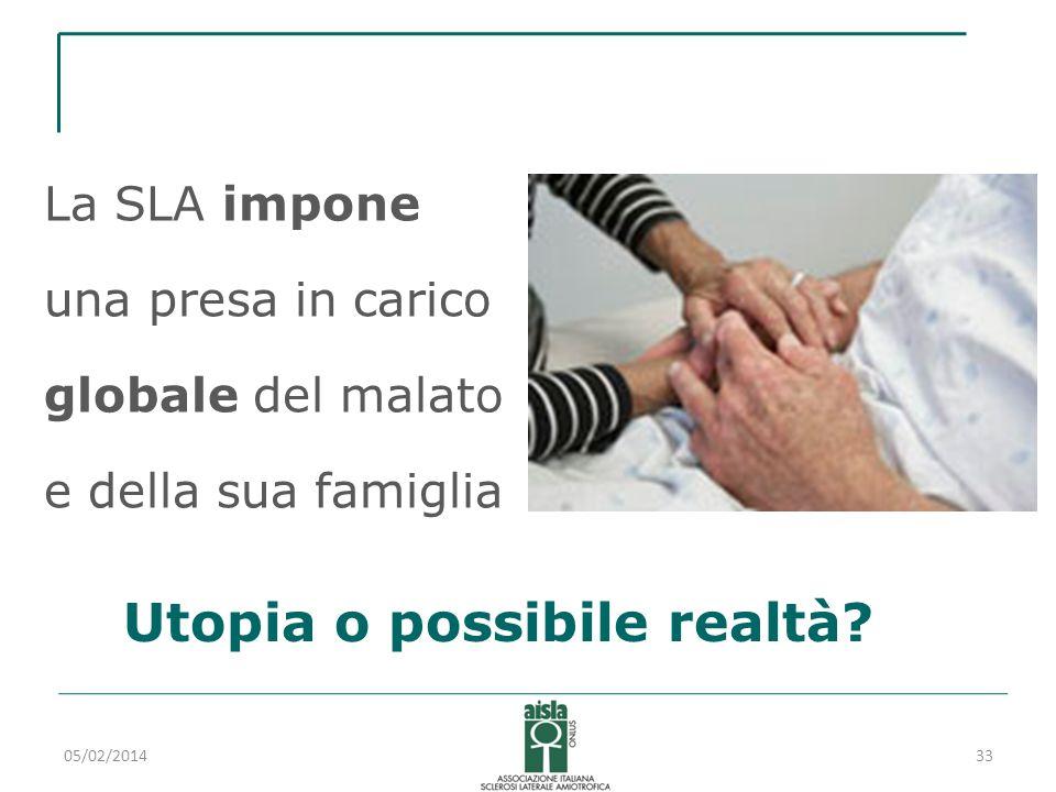 05/02/201433 La SLA impone una presa in carico globale del malato e della sua famiglia Utopia o possibile realtà?