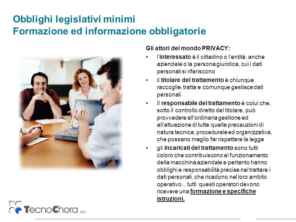 Obblighi legislativi minimi Formazione ed informazione obbligatorie Gli attori del mondo PRIVACY: linteressato è il cittadino o lentità, anche azienda