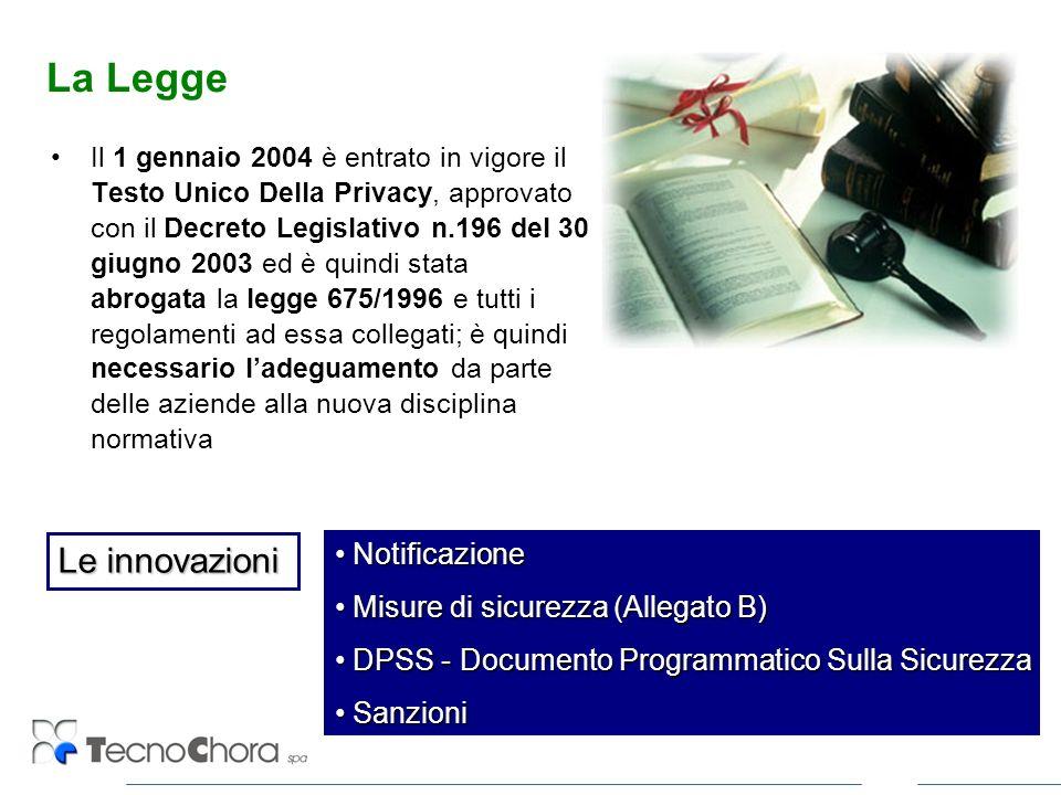 La Legge Il 1 gennaio 2004 è entrato in vigore il Testo Unico Della Privacy, approvato con il Decreto Legislativo n.196 del 30 giugno 2003 ed è quindi