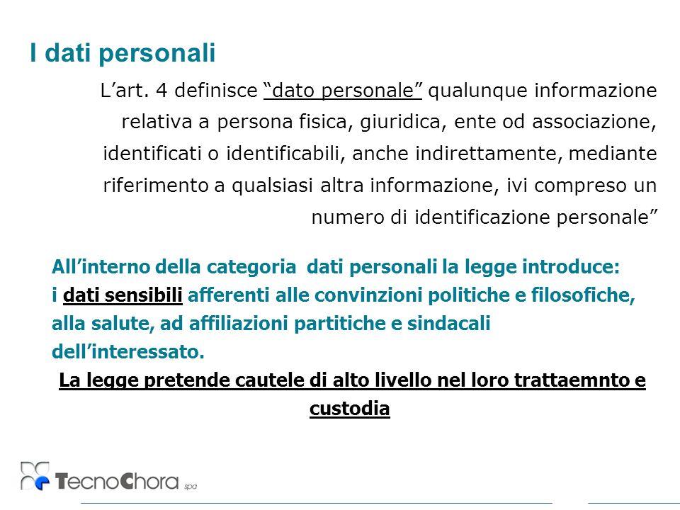 I dati personali Lart. 4 definisce dato personale qualunque informazione relativa a persona fisica, giuridica, ente od associazione, identificati o id