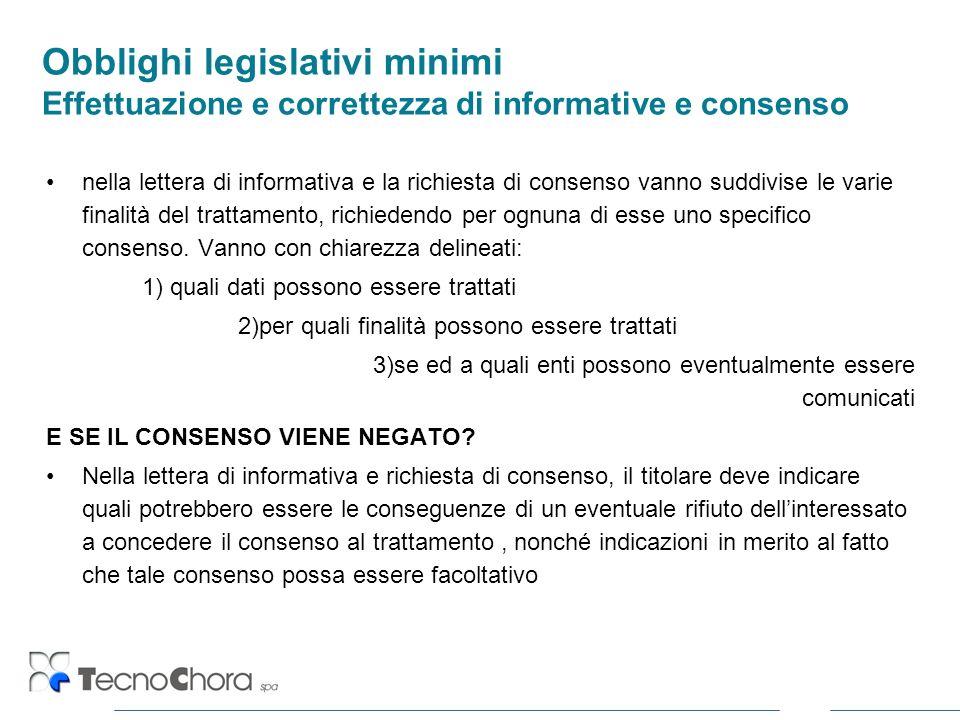 Obblighi legislativi minimi Effettuazione e correttezza di informative e consenso nella lettera di informativa e la richiesta di consenso vanno suddiv