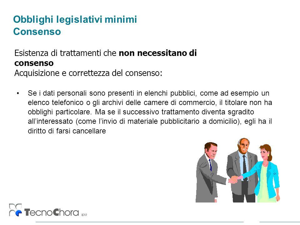 Obblighi legislativi minimi Consenso Se i dati personali sono presenti in elenchi pubblici, come ad esempio un elenco telefonico o gli archivi delle c