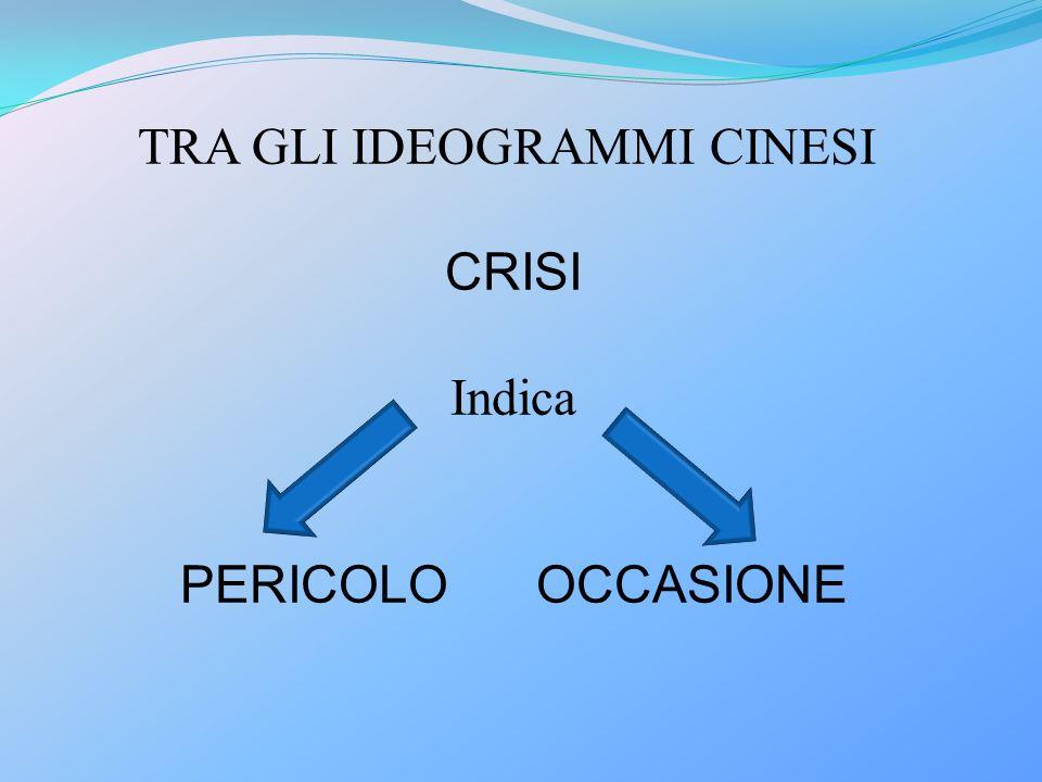 TRA GLI IDEOGRAMMI CINESI CRISI Indica PERICOLO OCCASIONE