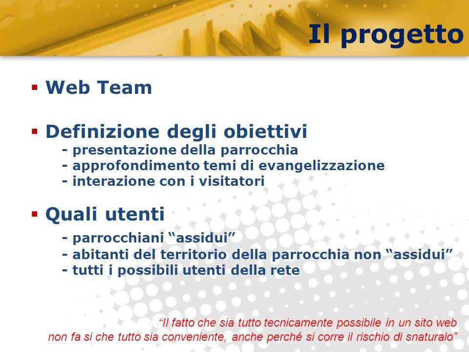 Il progetto Web Team Definizione degli obiettivi - presentazione della parrocchia - approfondimento temi di evangelizzazione - interazione con i visit