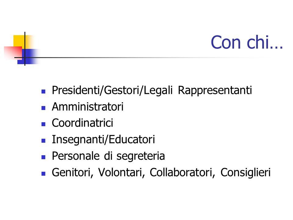 Con chi… Presidenti/Gestori/Legali Rappresentanti Amministratori Coordinatrici Insegnanti/Educatori Personale di segreteria Genitori, Volontari, Collaboratori, Consiglieri