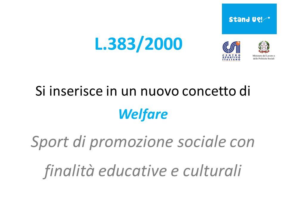 L.383/2000 Si inserisce in un nuovo concetto di Welfare Sport di promozione sociale con finalità educative e culturali