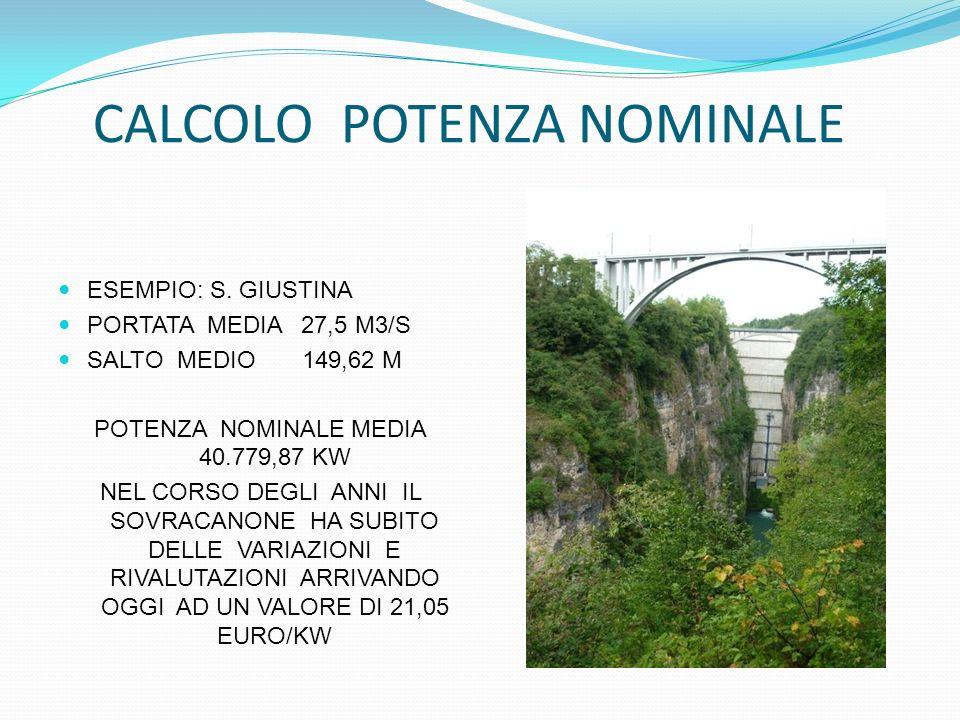 CALCOLO POTENZA NOMINALE ESEMPIO: S. GIUSTINA PORTATA MEDIA 27,5 M3/S SALTO MEDIO 149,62 M POTENZA NOMINALE MEDIA 40.779,87 KW NEL CORSO DEGLI ANNI IL