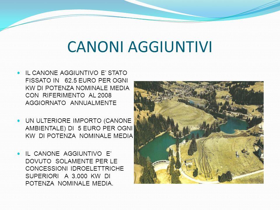 CANONI AGGIUNTIVI IL CANONE AGGIUNTIVO E STATO FISSATO IN 62.5 EURO PER OGNI KW DI POTENZA NOMINALE MEDIA CON RIFERIMENTO AL 2008 AGGIORNATO ANNUALMEN