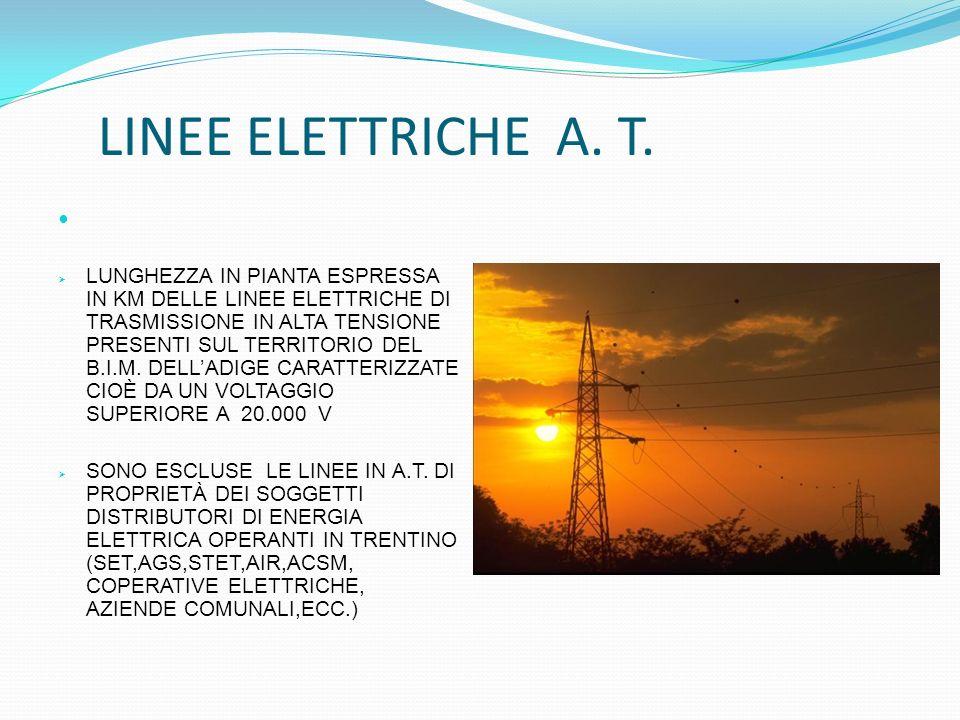 LUNGHEZZA IN PIANTA ESPRESSA IN KM DELLE LINEE ELETTRICHE DI TRASMISSIONE IN ALTA TENSIONE PRESENTI SUL TERRITORIO DEL B.I.M. DELLADIGE CARATTERIZZATE