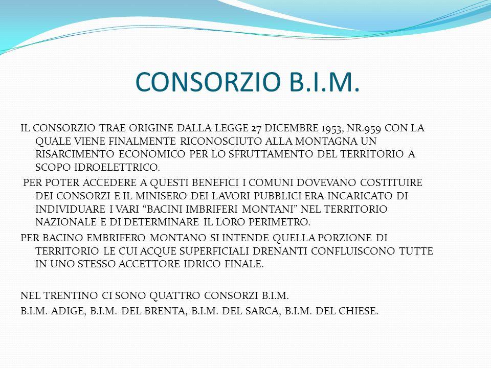 CONSORZIO B.I.M. IL CONSORZIO TRAE ORIGINE DALLA LEGGE 27 DICEMBRE 1953, NR.959 CON LA QUALE VIENE FINALMENTE RICONOSCIUTO ALLA MONTAGNA UN RISARCIMEN