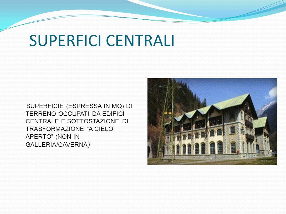 SUPERFICIE (ESPRESSA IN MQ) DI TERRENO OCCUPATI DA EDIFICI CENTRALE E SOTTOSTAZIONE DI TRASFORMAZIONE A CIELO APERTO (NON IN GALLERIA/CAVERNA ) SUPERF