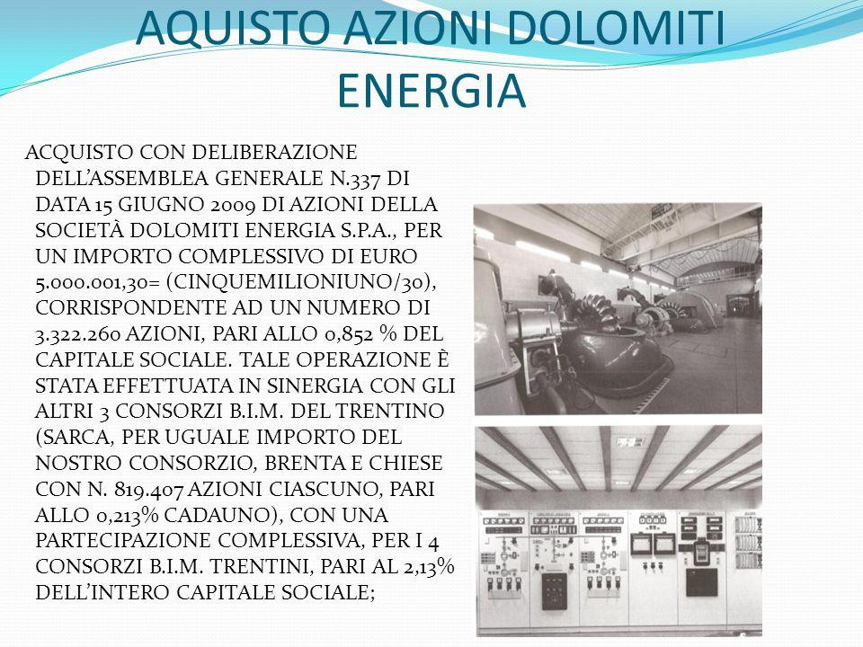 AQUISTO AZIONI DOLOMITI ENERGIA ACQUISTO CON DELIBERAZIONE DELLASSEMBLEA GENERALE N.337 DI DATA 15 GIUGNO 2009 DI AZIONI DELLA SOCIETÀ DOLOMITI ENERGI
