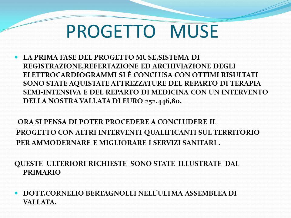 PROGETTO MUSE LA PRIMA FASE DEL PROGETTO MUSE,SISTEMA DI REGISTRAZIONE,REFERTAZIONE ED ARCHIVIAZIONE DEGLI ELETTROCARDIOGRAMMI SI È CONCLUSA CON OTTIM