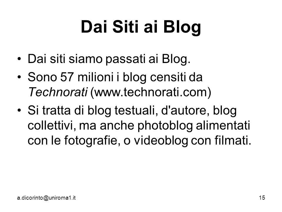 a.dicorinto@uniroma1.it15 Dai Siti ai Blog Dai siti siamo passati ai Blog.