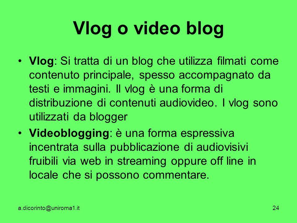 a.dicorinto@uniroma1.it24 Vlog o video blog Vlog: Si tratta di un blog che utilizza filmati come contenuto principale, spesso accompagnato da testi e immagini.