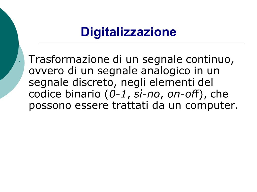 Convergenza dei contenuti Per convergenza si intende il convergere dei contenuti in un formato rappresentazionale di tipo binario.