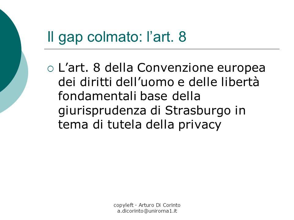 copyleft - Arturo Di Corinto a.dicorinto@uniroma1.it Il gap colmato: lart. 8 Lart. 8 della Convenzione europea dei diritti delluomo e delle libertà fo