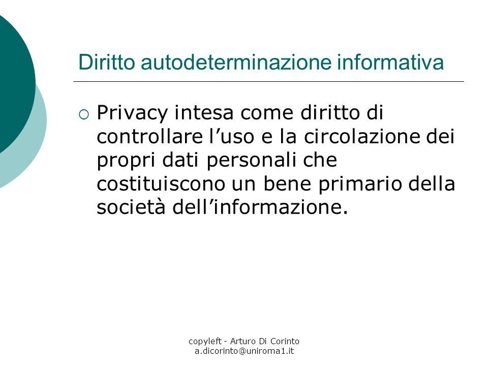 copyleft - Arturo Di Corinto a.dicorinto@uniroma1.it Diritto autodeterminazione informativa Privacy intesa come diritto di controllare luso e la circolazione dei propri dati personali che costituiscono un bene primario della società dellinformazione.