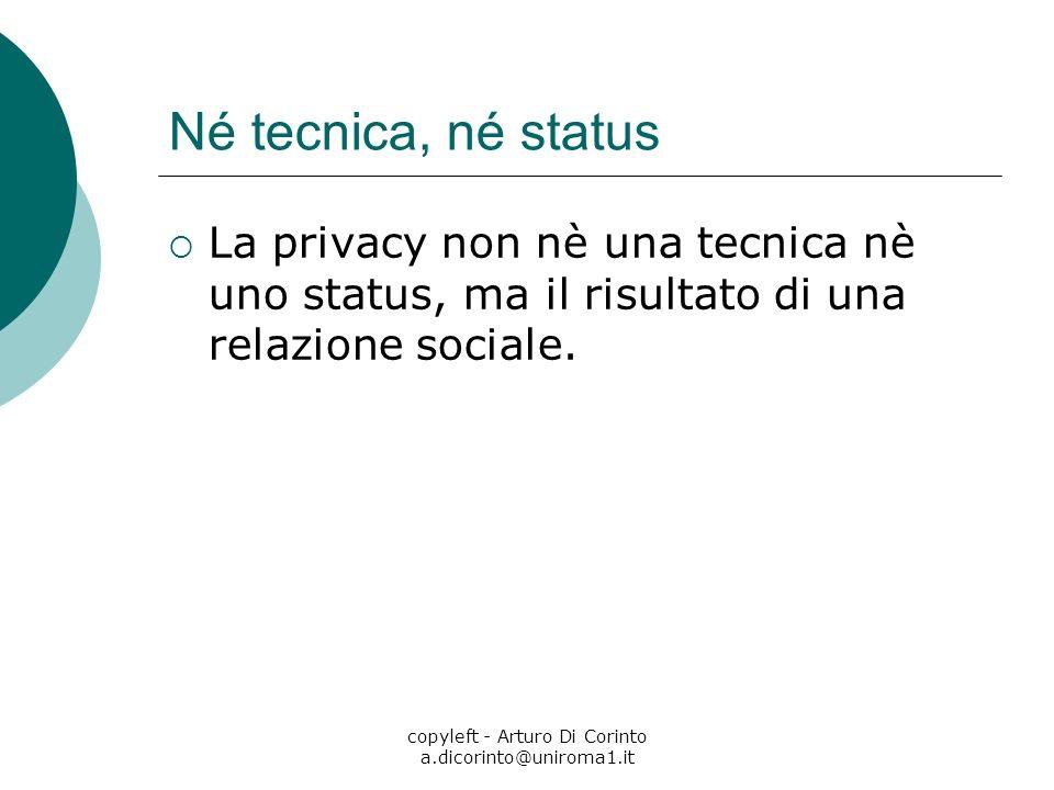 copyleft - Arturo Di Corinto a.dicorinto@uniroma1.it Né tecnica, né status La privacy non nè una tecnica nè uno status, ma il risultato di una relazione sociale.