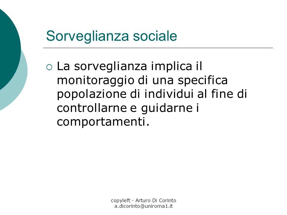 copyleft - Arturo Di Corinto a.dicorinto@uniroma1.it Sorveglianza sociale La sorveglianza implica il monitoraggio di una specifica popolazione di individui al fine di controllarne e guidarne i comportamenti.