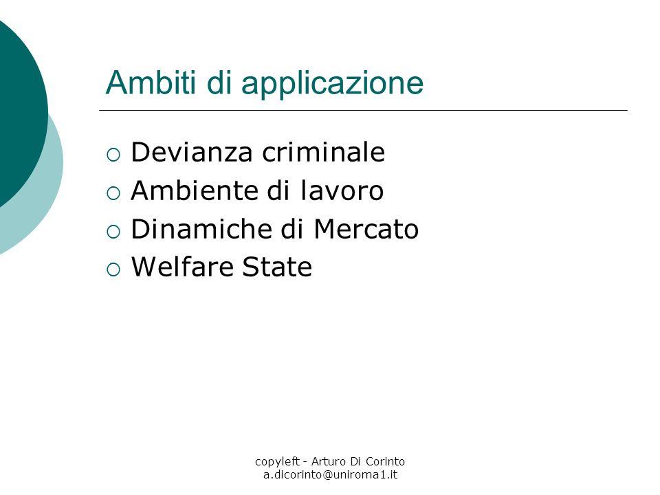 copyleft - Arturo Di Corinto a.dicorinto@uniroma1.it Ambiti di applicazione Devianza criminale Ambiente di lavoro Dinamiche di Mercato Welfare State