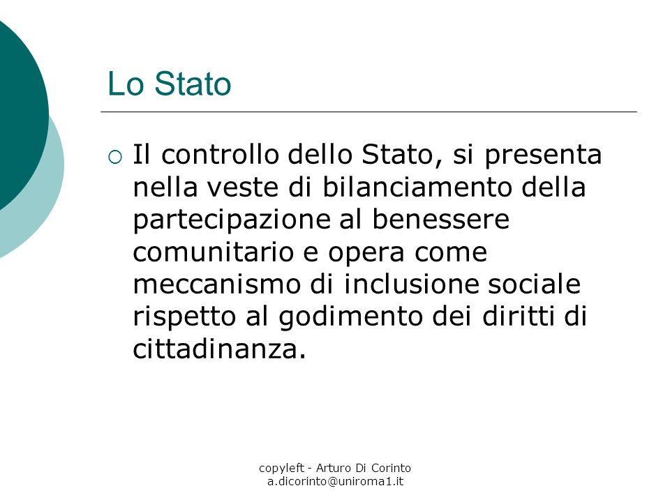 copyleft - Arturo Di Corinto a.dicorinto@uniroma1.it Lo Stato Il controllo dello Stato, si presenta nella veste di bilanciamento della partecipazione al benessere comunitario e opera come meccanismo di inclusione sociale rispetto al godimento dei diritti di cittadinanza.