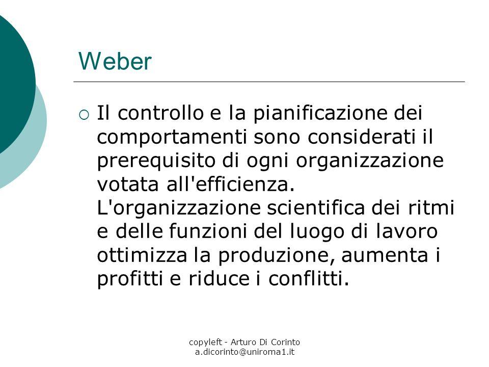 copyleft - Arturo Di Corinto a.dicorinto@uniroma1.it Weber Il controllo e la pianificazione dei comportamenti sono considerati il prerequisito di ogni organizzazione votata all efficienza.