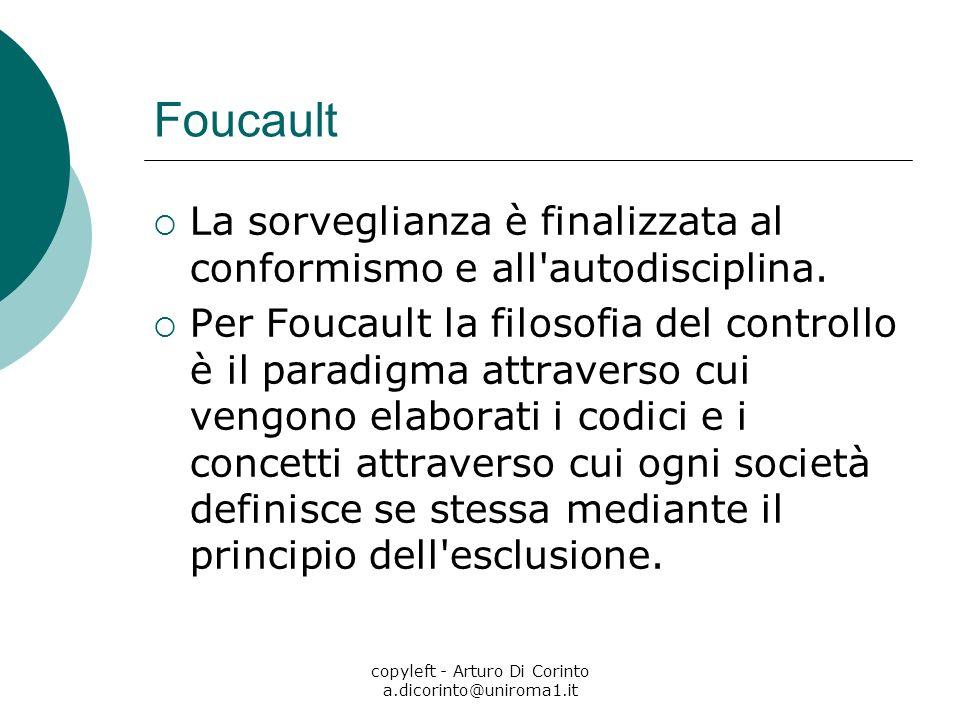 copyleft - Arturo Di Corinto a.dicorinto@uniroma1.it Foucault La sorveglianza è finalizzata al conformismo e all'autodisciplina. Per Foucault la filos