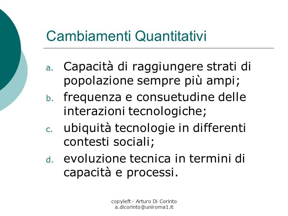 copyleft - Arturo Di Corinto a.dicorinto@uniroma1.it Cambiamenti Quantitativi a. Capacità di raggiungere strati di popolazione sempre più ampi; b. fre