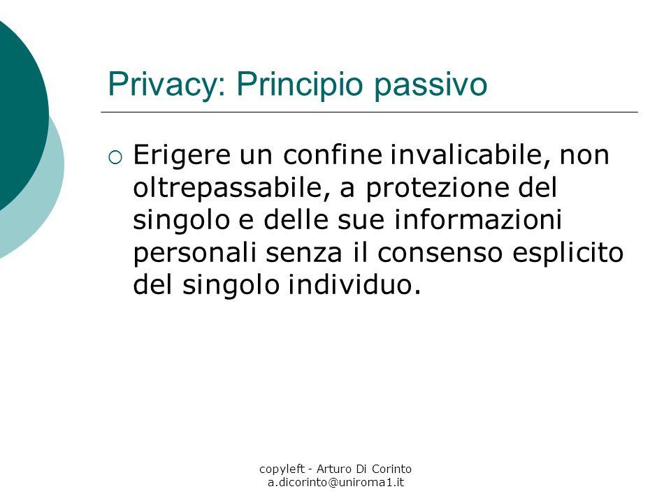 copyleft - Arturo Di Corinto a.dicorinto@uniroma1.it Privacy: Principio passivo Erigere un confine invalicabile, non oltrepassabile, a protezione del singolo e delle sue informazioni personali senza il consenso esplicito del singolo individuo.