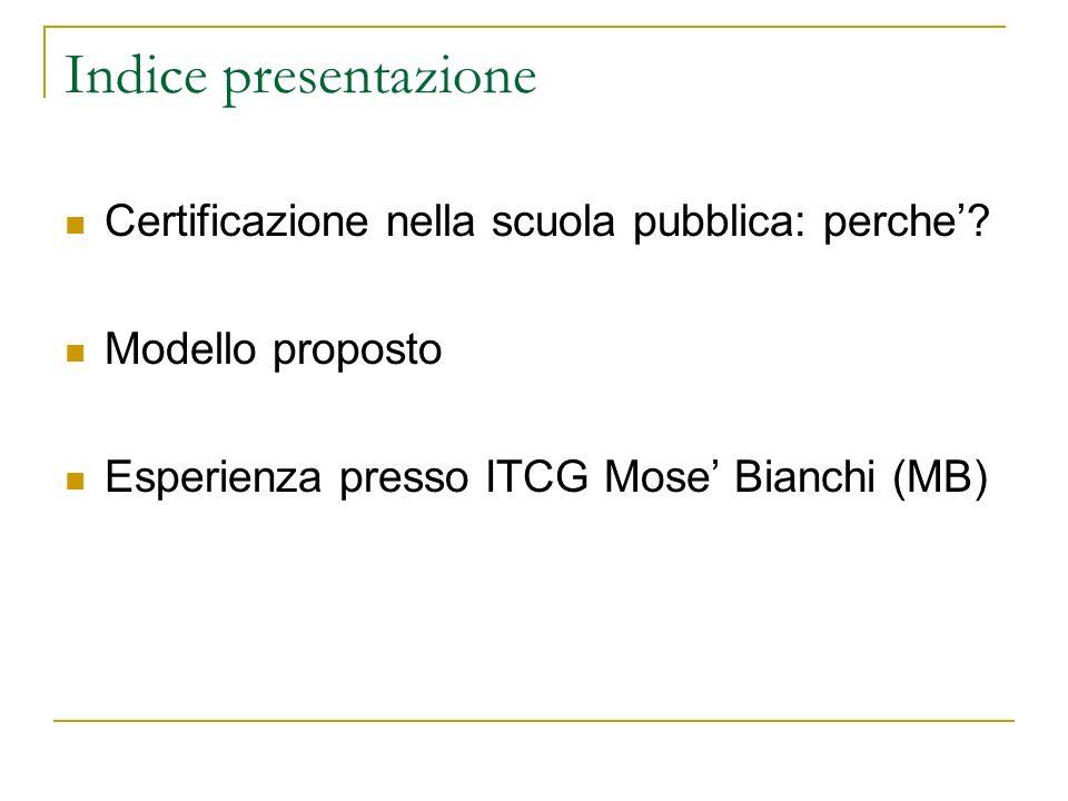 Indice presentazione Certificazione nella scuola pubblica: perche.