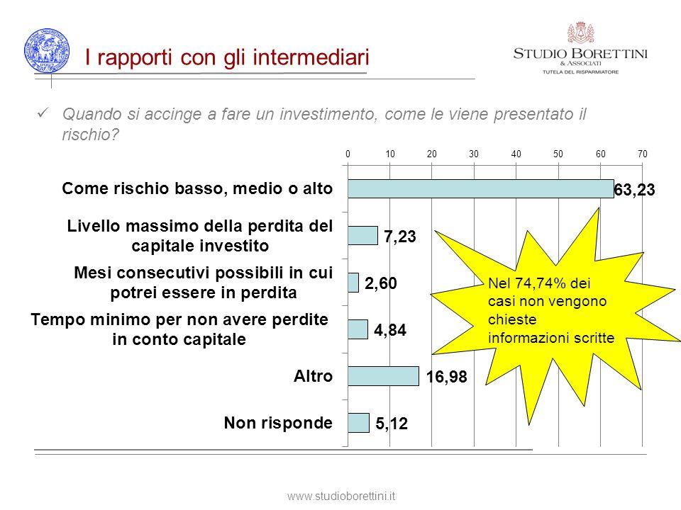 www.studioborettini.it I rapporti con gli intermediari Quando si accinge a fare un investimento, come le viene presentato il rischio.