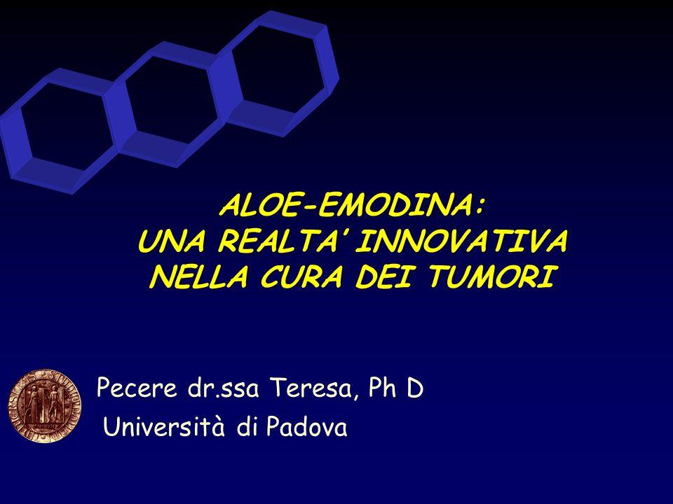 Università di Padova Pecere dr.ssa Teresa, Ph D ALOE-EMODINA: UNA REALTA INNOVATIVA NELLA CURA DEI TUMORI