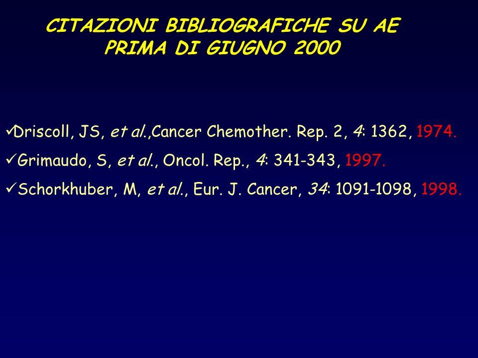 CITAZIONI BIBLIOGRAFICHE SU AE PRIMA DI GIUGNO 2000 Driscoll, JS, et al.,Cancer Chemother. Rep. 2, 4: 1362, 1974. Grimaudo, S, et al., Oncol. Rep., 4: