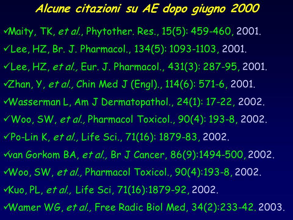 Alcune citazioni su AE dopo giugno 2000 Maity, TK, et al., Phytother. Res., 15(5): 459-460, 2001. Lee, HZ, Br. J. Pharmacol., 134(5): 1093-1103, 2001.
