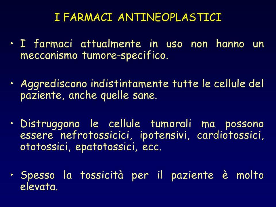 I FARMACI ANTINEOPLASTICI I farmaci attualmente in uso non hanno un meccanismo tumore-specifico. Aggrediscono indistintamente tutte le cellule del paz