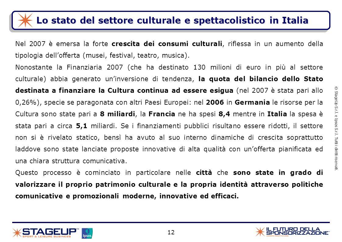 Lo stato del settore culturale e spettacolistico in Italia © StageUp S.r.l. e Ipsos S.r.l. Tutti i diritti riservati. Nel 2007 è emersa la forte cresc