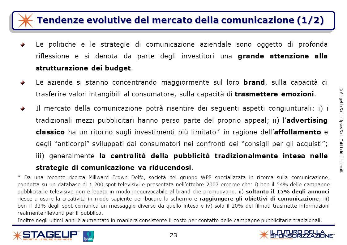 23 Tendenze evolutive del mercato della comunicazione (1/2) © StageUp S.r.l. e Ipsos S.r.l. Tutti i diritti riservati. Le politiche e le strategie di