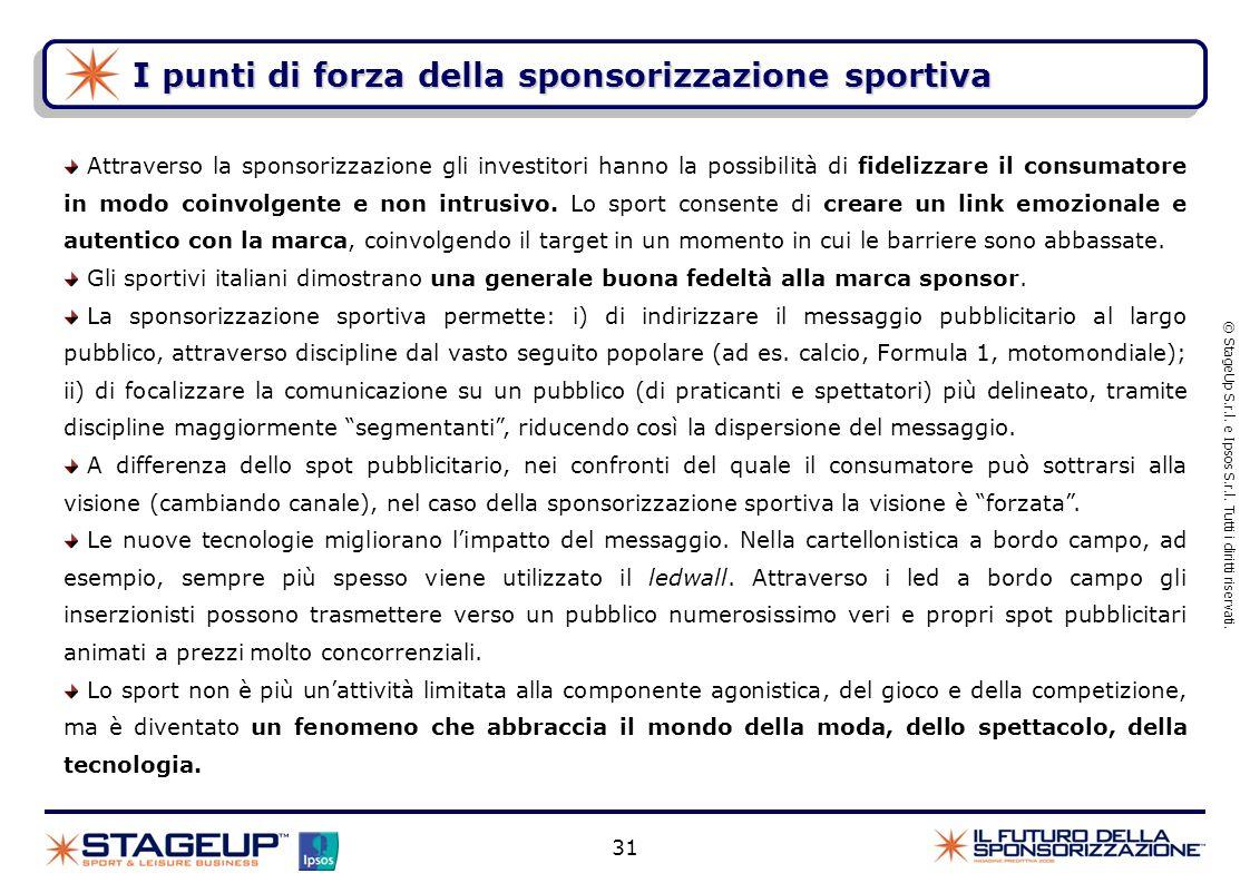 I punti di forza della sponsorizzazione sportiva © StageUp S.r.l. e Ipsos S.r.l. Tutti i diritti riservati. 31 Attraverso la sponsorizzazione gli inve