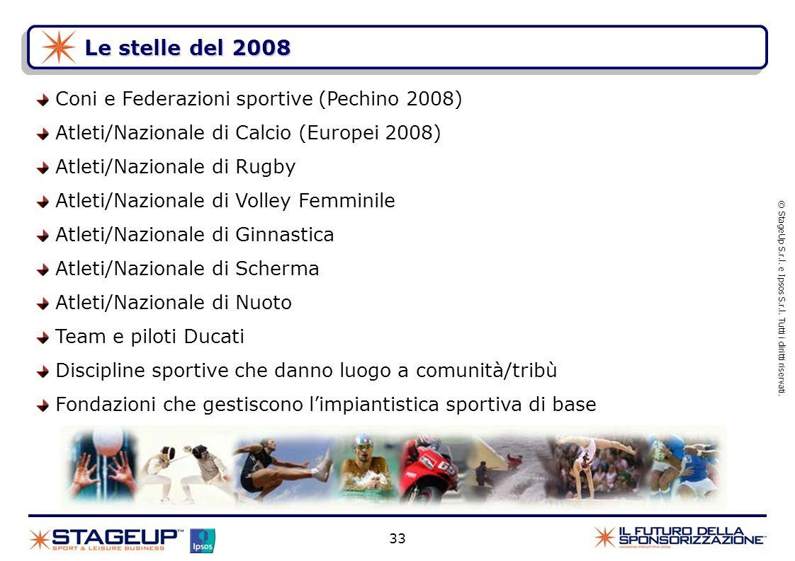 33 Le stelle del 2008 Coni e Federazioni sportive (Pechino 2008) Atleti/Nazionale di Calcio (Europei 2008) Atleti/Nazionale di Rugby Atleti/Nazionale