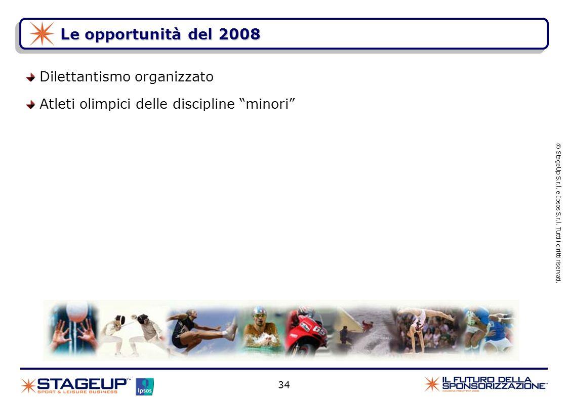 34 Le opportunità del 2008 Dilettantismo organizzato Atleti olimpici delle discipline minori © StageUp S.r.l. e Ipsos S.r.l. Tutti i diritti riservati