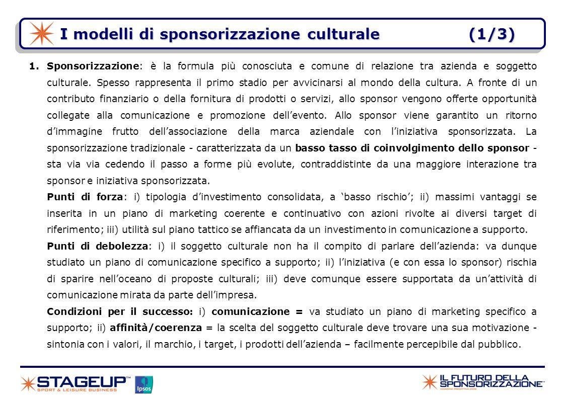 I modelli di sponsorizzazione culturale(1/3) 1.Sponsorizzazione: è la formula più conosciuta e comune di relazione tra azienda e soggetto culturale. S