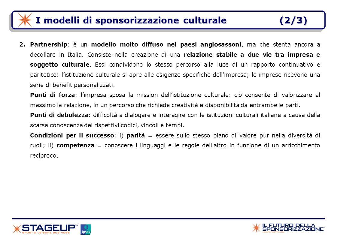I modelli di sponsorizzazione culturale(2/3) 2.Partnership: è un modello molto diffuso nei paesi anglosassoni, ma che stenta ancora a decollare in Ita