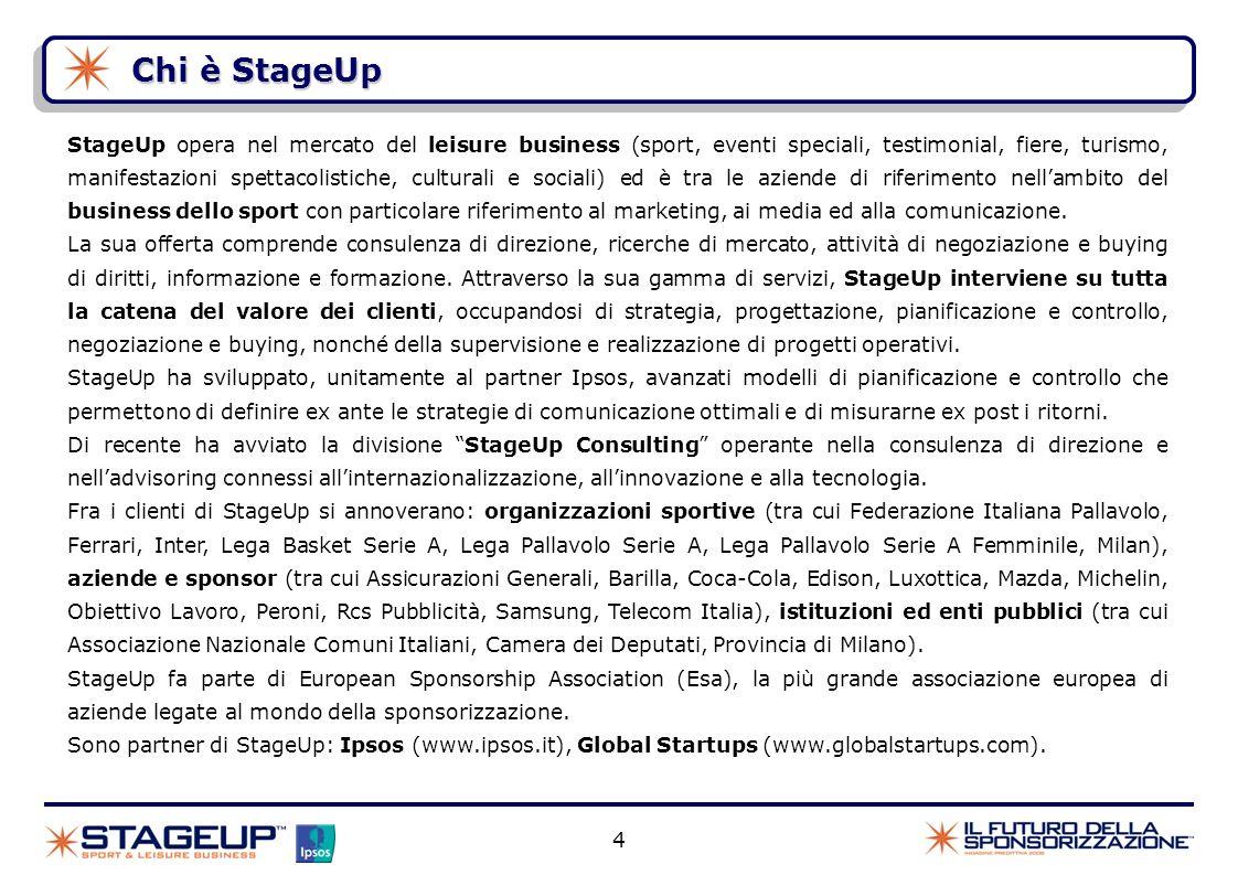 Chi è StageUp 4 StageUp opera nel mercato del leisure business (sport, eventi speciali, testimonial, fiere, turismo, manifestazioni spettacolistiche,